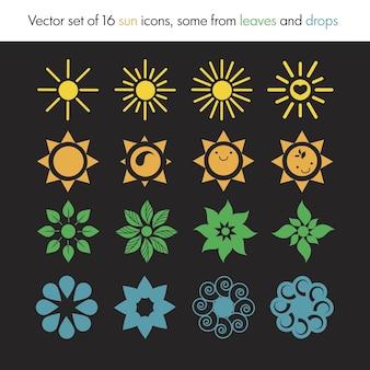 Zestaw ikon słońca z liści, kropli, logo przyrody, ekologii