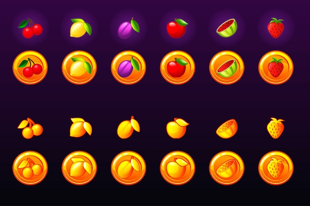 Zestaw ikon sloty owoce. ikona złotej monety gry. kasyno gier, automat, interfejs użytkownika. ikony na osobnych warstwach.