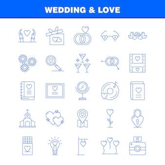 Zestaw ikon ślub i miłość linii do infografiki, zestaw mobile ux / ui