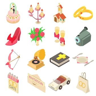 Zestaw ikon ślubu. izometryczne ilustracja 16 ikon wektorowych ślub dla sieci web