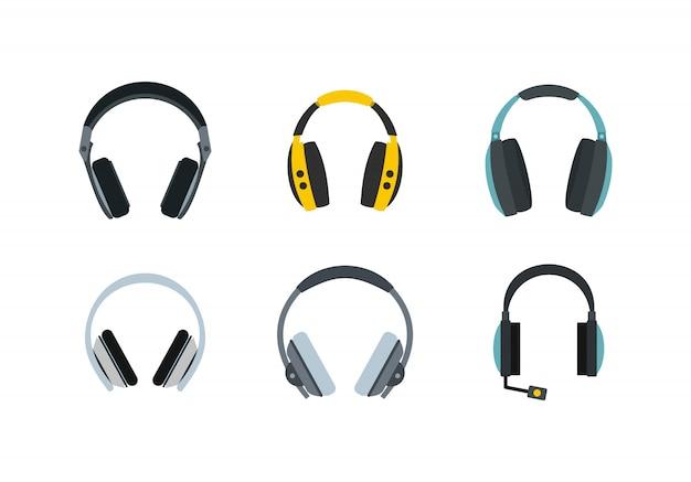 Zestaw ikon słuchawek. płaski zestaw słuchawek wektor zbiory ikony na białym tle