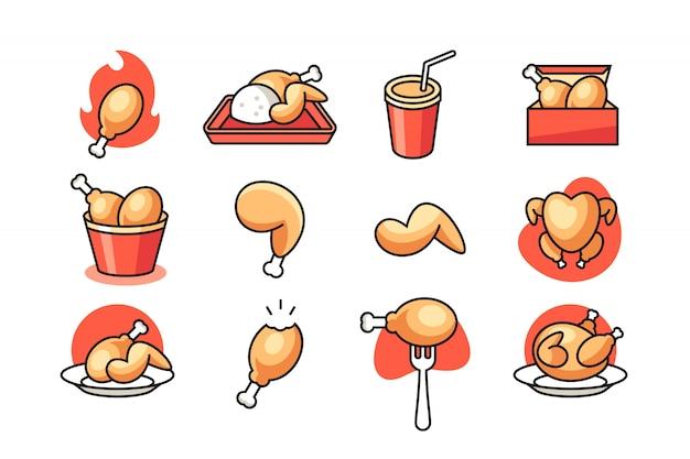 Zestaw ikon smażonego kurczaka