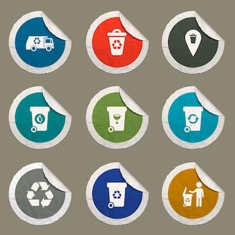 Zestaw ikon śmieci dla stron internetowych i interfejsu użytkownika