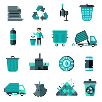 Zestaw ikon śmieci
