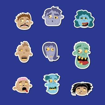 Zestaw ikon śmieszne zombie avatar