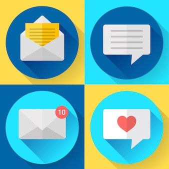 Zestaw ikon sms płaski kolor wiadomości