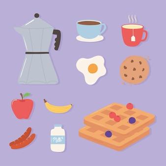 Zestaw ikon śniadanie, filiżanka kawy dzbanek moka smażone owoce jajka i ilustracja cookie