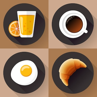 Zestaw ikon śniadanie. szklanka soku, kawa, jajko i rogalik. płaski styl.