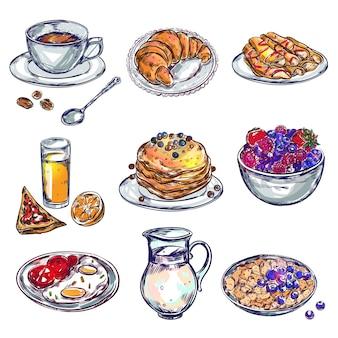 Zestaw ikon śniadanie żywności