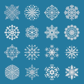 Zestaw ikon śnieżynka.