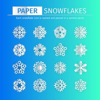 Zestaw ikon śnieżynkami ppaer