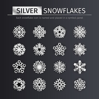 Zestaw ikon śnieżynkami srebra