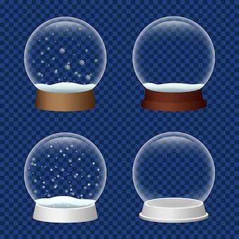 Zestaw ikon snowglobe, realistyczny styl