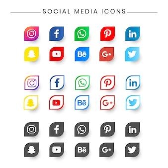 Zestaw ikon social medial do wznowienia, wizytówki.