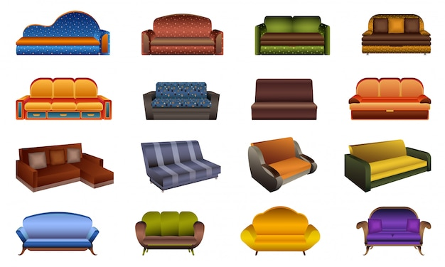 Zestaw ikon sofa. kreskówka zestaw ikon sofa
