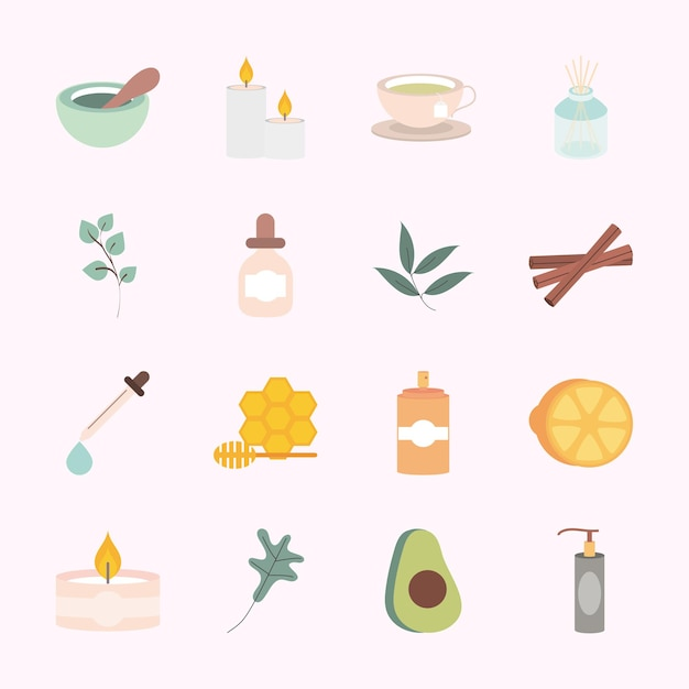 Zestaw ikon spa aromaterapii