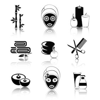 Zestaw ikon spa czarno-białe