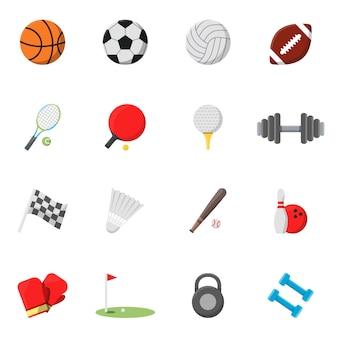 Zestaw ikon sportowych. zdjęcia wektorowe w stylu płaskiej