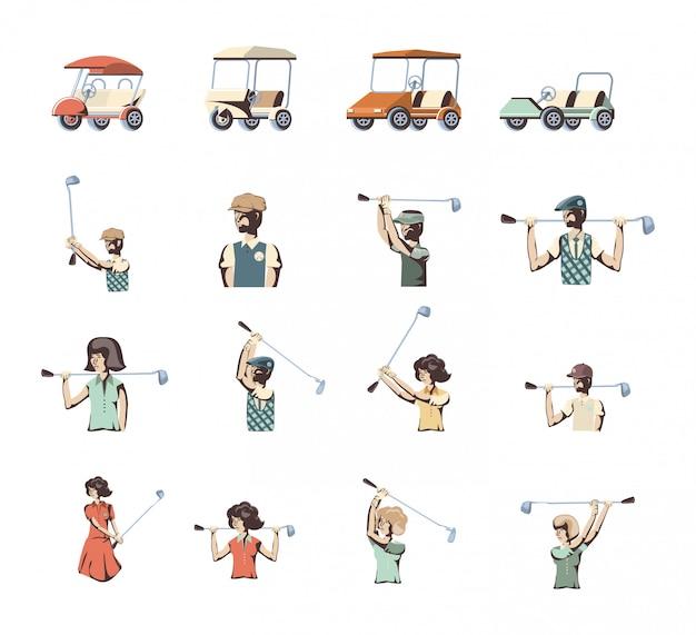 Zestaw ikon sportu golf na białym tle