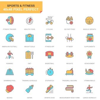 Zestaw ikon sportu i fitness linii płaskiej