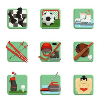 Zestaw ikon sportu, ilustracje sportowe, szachy, baseball, piłka nożna, hokej, golf, sumo, piłka nożna, curling, narciarstwo i łyżwiarstwo