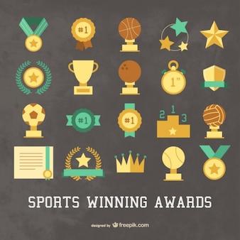 Zestaw ikon sportu zdobywając nagrody