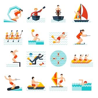 Zestaw ikon sporty wodne