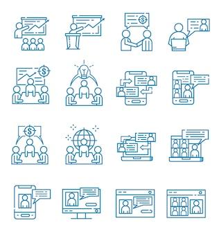 Zestaw ikon spotkania w stylu konspektu