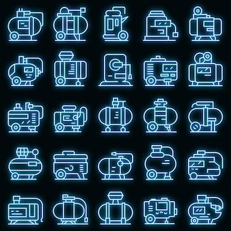 Zestaw ikon sprężarki wektor neon