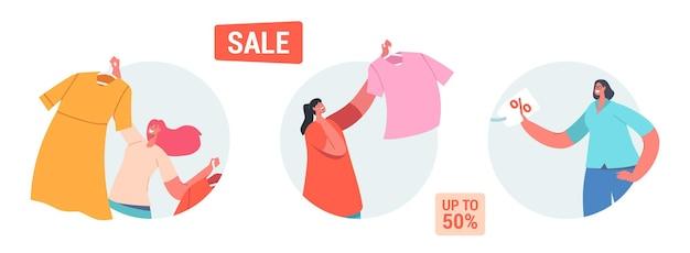 Zestaw ikon sprzedaży i rabatu. szczęśliwe postacie kobiece zakupy rekreacji. kobiety kupują modne sukienki odzieżowe w niskiej cenie. promocja konsumpcjonizmu i ceny. ilustracja wektorowa kreskówka ludzie