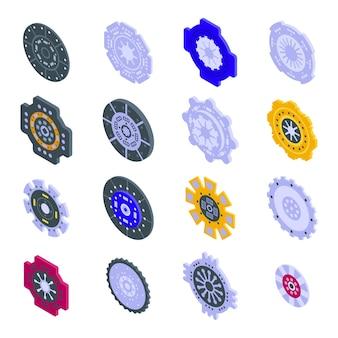 Zestaw ikon sprzęgła. izometryczny zestaw ikon wektorowych sprzęgła do projektowania stron internetowych na białym tle