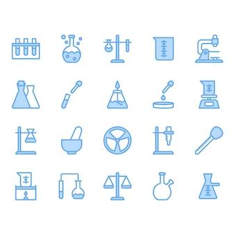 Zestaw ikon sprzęt do nauki i laboratorium
