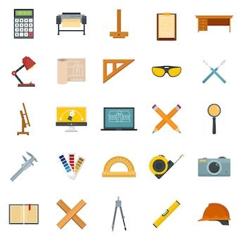 Zestaw ikon sprzętu architekta