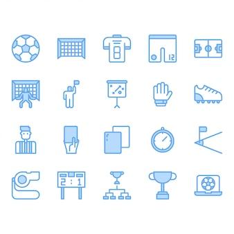 Zestaw ikon sprzętu do piłki nożnej lub piłki nożnej
