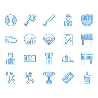 Zestaw ikon sprzętu i działań baseballu