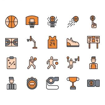 Zestaw ikon sprzętu i działań koszykówki