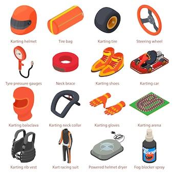 Zestaw ikon sprzętu kartingowego. izometryczne ilustracja 16 ikon wektorowych urządzeń kartingowych dla sieci web