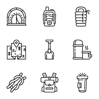 Zestaw ikon sprzętu kempingowego, styl konturu