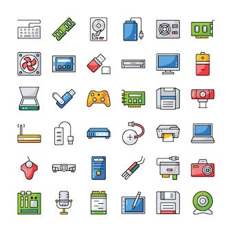 Zestaw ikon sprzętu komputerowego