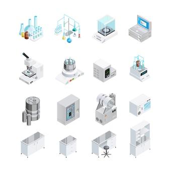 Zestaw ikon sprzętu laboratoryjnego
