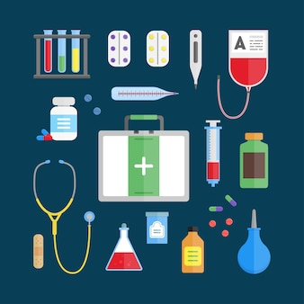 Zestaw ikon sprzętu medycznego opieki zdrowotnej na niebieskim tle.