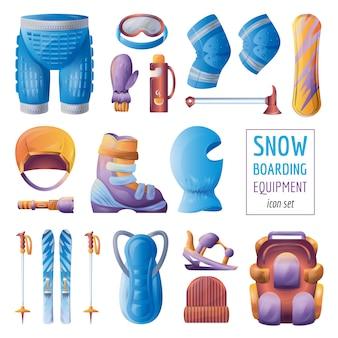 Zestaw ikon sprzętu na snowboardzie