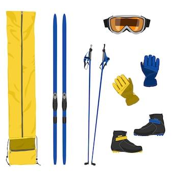 Zestaw ikon sprzętu narciarskiego. ilustracja wektorowa płaski kolor