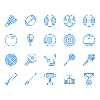 Zestaw ikon sprzętu piłka sportowa
