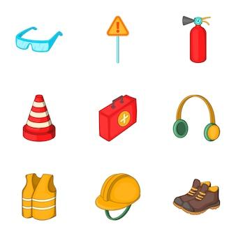Zestaw ikon sprzętu pracy drogowej, stylu cartoon