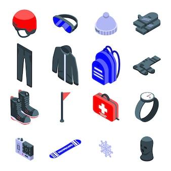 Zestaw ikon sprzętu snowboardowego, izometryczny styl
