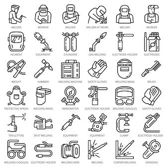 Zestaw ikon sprzętu spawacza. zarys zestaw urządzeń spawacz wektorowe ikony na projektowanie stron internetowych izolowane