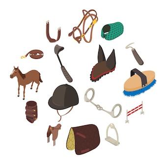 Zestaw ikon sprzętu sportowego konia, izometryczny styl