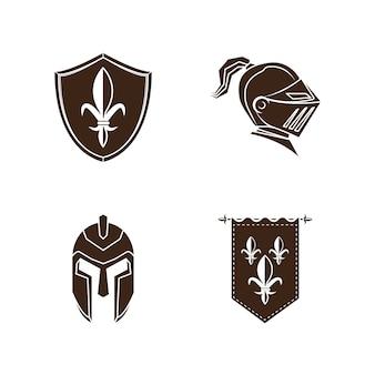 Zestaw ikon średniowiecznej historii rycerza