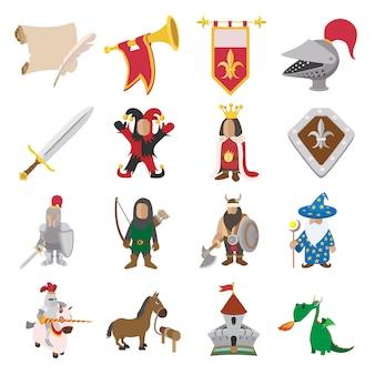 Zestaw ikon średniowiecznej kreskówki